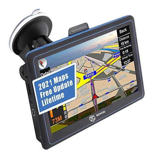 LKW Navi Navigationsgerät für Auto SIXGO Navigation Navigationssystem PKW 7 Zoll Kostenloses Kartenupdate POI Blitzerwarnung Sprachführung Fahrspur 2021 Europa Karte Update