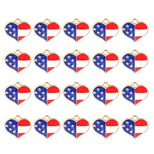 TENDYCOCO 20 colgantes con la bandera de Estados Unidos, con forma de corazón, para hacer joyas para collar, pulsera, día nacional