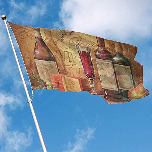 wallxxj Home Flag Wein Trägt Klares Buntes Feiertagsdrucken Garten-Flaggen 150X90Cm Yard-Flaggenstandard Früchte Willkommenes Yard-Fahne Im Freien