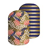 Golden Age - Jamberry Nail Wraps - 72A9 - Full Sheet - Gold Laurel Floral with Navy and Gold Sparkle Stripes - Mixed Mani