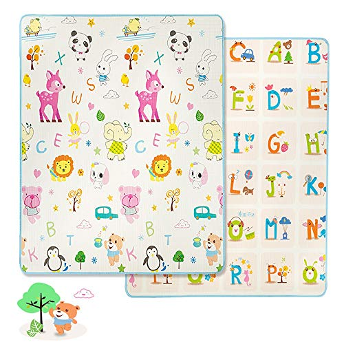 Great Deal! Kids Play Mat Baby Foam Play Mat Foldable Waterproof Reversible Playmat for Toddlers and...