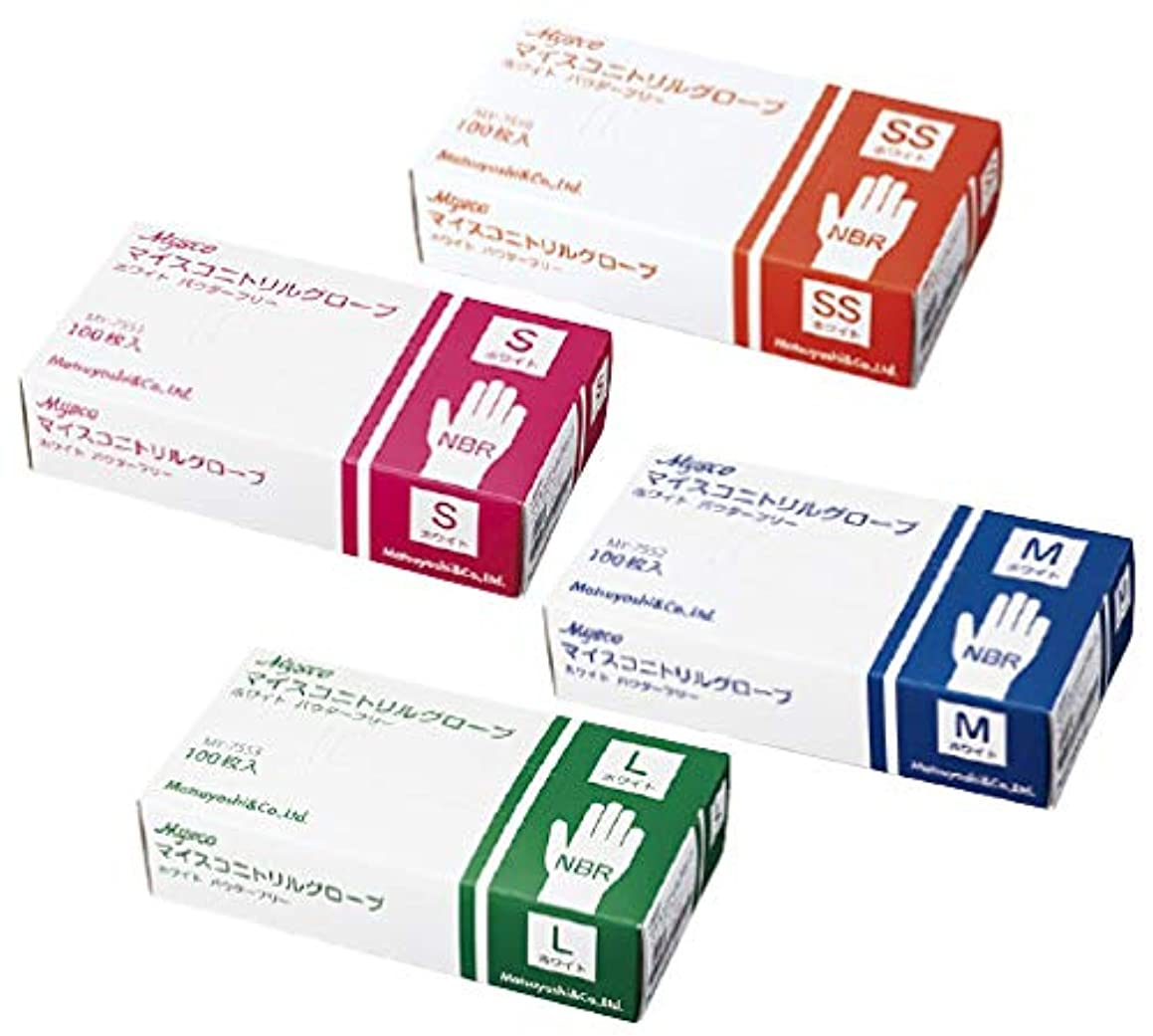 聞くトランスペアレント配当マイスコ ニトリルグローブ ホワイト 粉なし M 100枚入り 3箱
