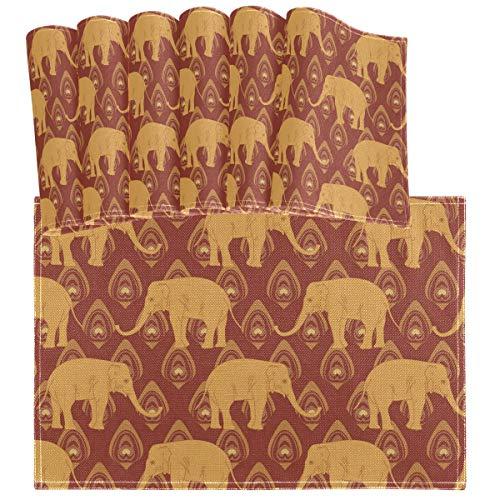 Oarencol - Mantel individual para mesa de comedor, diseno etnico de elefante etnico, con plumas de pavo real, resistente al calor, lavable, lavable, para decoracion de mesa de comedor, 45,7 x 30,5 cm