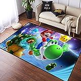 Coobal Super Mar-io Odyssey - Alfombra grande para suelo de yoga, alfombra personalizada para niños, sala de juegos, dormitorio, 3 x 5 pies (90 x 150 cm)