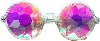 Aolvo Kaleidoscope Glasses, EDM Festival Prism Diffraction Rainbow Rave Lens Sunglasses Goggles Clear Frame