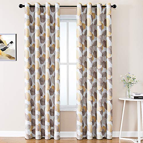 Curtains Room Darkening Bedroom 84 inches Long Taupe Leaves Printed Living Room Drapes 2 Panels Leaf Print Window Treatment Set Multi Color Thermal Insulated Curtain Panels Triple Weave