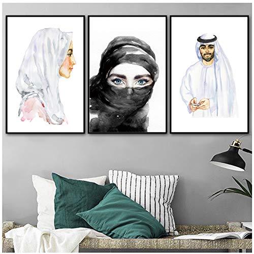 WUJUNHAOFBH Nordic Shisha Sexy Mann Frau Islamischen Wandkunst Leinwand Malerei Muslim Poster Drucke Wandbilder Für Wohnzimmer Wohnkultur50x70 cm Kein Rahmen