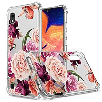 Osophter Compatible with Samsung Galaxy A10 Case for Galaxy A10 Case FlowerFloral for Girls Women Shock-Absorption Flexible TPU Rubber Soft Silicone for Galaxy A10  Purple Flower