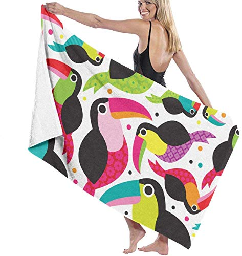 Flimy Na Tucan Birds Toalla de Playa Colorida Piscina Toalla de baño de Gran tamaño
