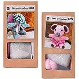 TE-DecoArt 2 Stück DIY Mini Häkelset Bastelset Häkeltier Maus Elefant zum Selber Häkeln und Verschenken 10 cm rosa