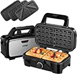 Decen Deep Fill Sandwich Toastie Waffle Maker 3 in 1, 1200W Sandwich Maker with 5-Gears Temperature Control, Non-Stick Coating, LED Indicator Display with Cool Touch Handle/Black