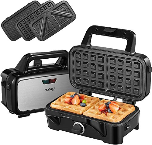 Decen Deep Fill Sandwich Toastie Waffle Maker 3 in 1, 1200W Sandwich Maker with 5-Gears Temperature...