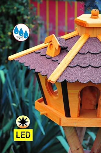 Futterhaus,Vogelhäuser wetterfest, mit Ständer Standfuß und Silo,Futtersilo für Winterfütterung mit Beleuchtung,Licht-LED -Holz Nistkästen & Vogelhäuser- Futterhaus groß ROT mit Ständer rot BRL45roMS - 3