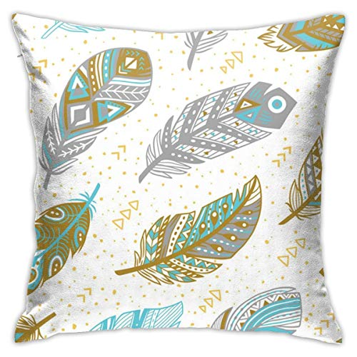EU Tribal Feathers Pattern In Grey Gold And Blue Throw pillow is soft and comfortable,anti-wrinkle,fade,stain-resistant,18x18in.