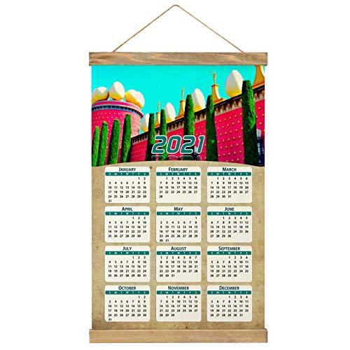 "España Figueras Imprimir Póster Calendario de Pared 2021 12 Meses Pintura decorativa Cuadros Colgantes Lienzo Madera 20.4 ""x 13.1"" GL-Spain-5312"