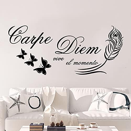 Etiqueta de la pared Cita española Tatuajes de pared Pluma Mariposa Decoración Arte de la pared Murales Decoración para el hogar A1 57x24cm