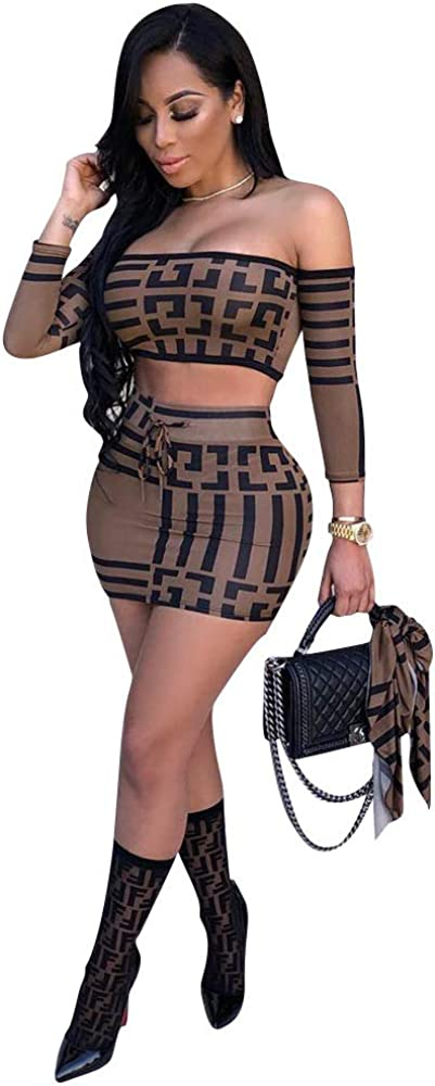 Onous Women's Sexy 2 Piece Suits Crop Top Middle Sleeve Mini Skirt Bodycon Clubwear Dresses Sets