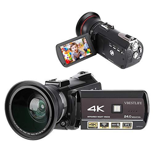 Bindpo Cámara 4K 24M DV, videocámara de grabación de Video con Zoom Digital UHD WiFi 30X Profesional con Modo de Disparo de visión Nocturna y Pantalla táctil de 3.1 Pulgadas para fotografía(UE)