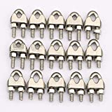 Wire Rope Clamp 1/4 inch 304 Stainless Steel Wire Rope Clip - Wire Cable Clamps U Bolt Saddle Fastener M6 Pack of 15 and Silver