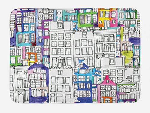 ABAKUHAUS Amsterdam Tappetino da Bagno, Acquerello Schizzo Case, Vasca Doccia WC Tappeto in Peluche con Supporto Antiscivolo, 45 cm x 75 cm, Multicolore