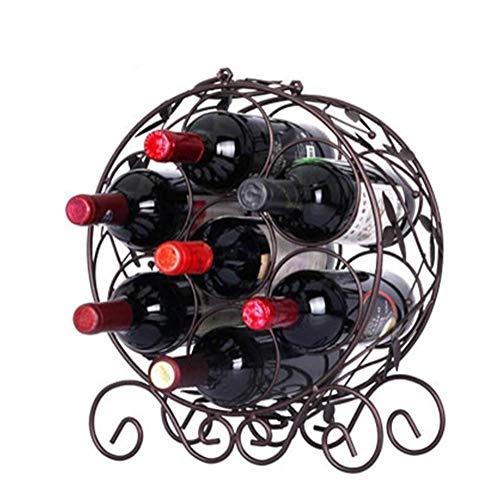 OOMMJU Estante del Vino 6 Botellas, Botellas Bastidores Holder, sostenedor del Metal de Cobre del almacenaje del Vino con Patas, ya montados, ponga Fácil