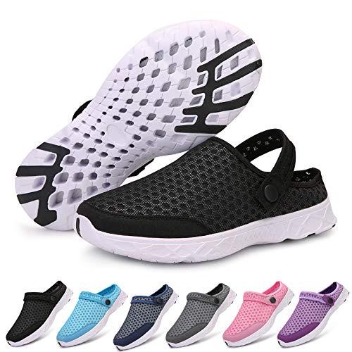 Acfoda Zuecos de malla para hombre y mujer, zapatillas de estar por casa, para verano, transpirables, antideslizantes, para la playa, tallas 24-48, color Negro, talla 43 EU