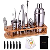 Cocktail Shaker Set Bartender Kit 26-Piece Stainless Steel Bar Tool Set with Bamboo Stand,Home Cocktail tool with All Bar Accessories (Silver)