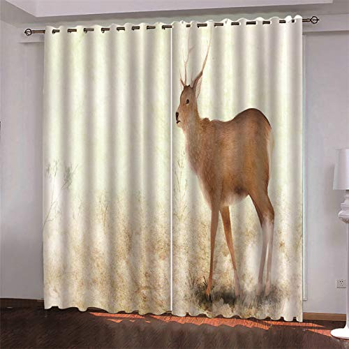SSHHJ 3D Digital Printing Curtain Suitable For Blackout Curtains For Hotels, Gardens And Shopping Malls Effectively Protect Personal Privacy 2 Pieces