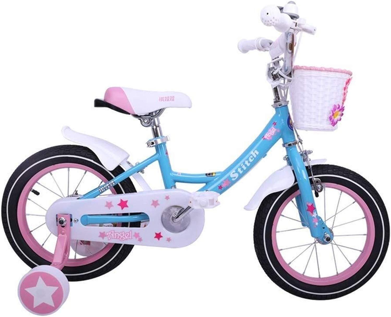 LXF Bici per Bambini Bicicletta for Bambini Bicicletta da Studente Princess Bicicletta for Bambini 12 14 16 Pollici con stabilizzatore e Cestino Bici per Bambini (Dimensione   B)
