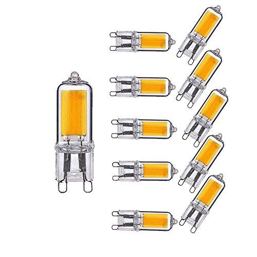 OUGEER Confezione da 10 Lampadine LED G9 2W Equivalente a 20W G9 Lampadina Alogena Bianco Caldo 3000K 200LM AC 220-240V, Non Dimmerabile, Materiale di vetro