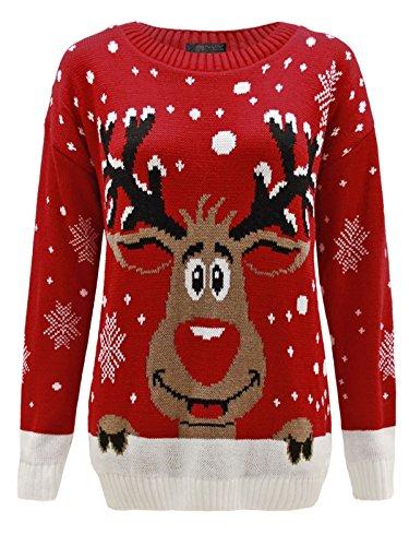 Envy Boutique - Sweat Unisexe Homme Femme Flocon de Neige Rodolphe Noël - XL, Rouge