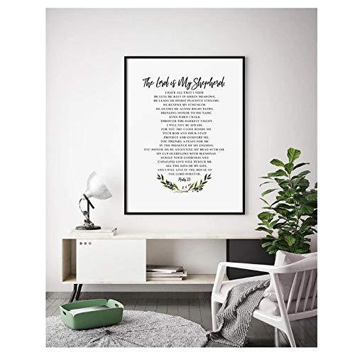 woplmh Bibelvers Wandkunst Psalm 23 NLT, Der Herr ist Mein Hirte, christliches Dekor,...