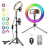 A-tion Luce ad Anello LED, 10'' RGB Selfie Ring Light, Luce Tik Tok con Treppiede e Suppor...
