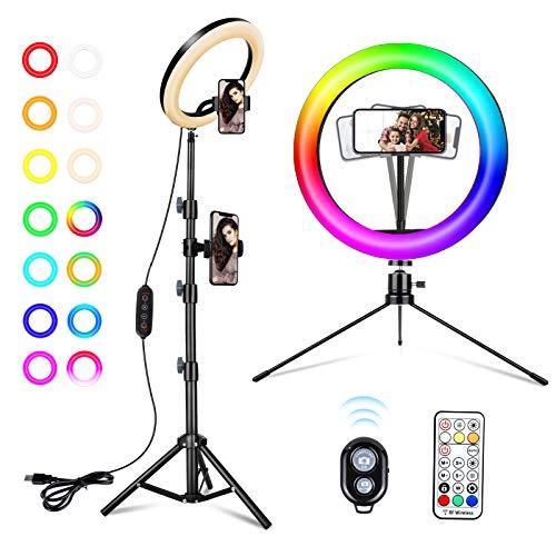 ACTION Aro de Luz Trípode 10', Anillo de Luz LED con Trípode Soporte 53' para Móvil, RGB Luz de Anillo Fotográfica con Mando Bluetooth, Brillos Regulable para Maquillaje/Volg/Youtube/TIK Tok Live