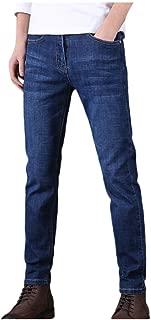 Houshelp Men Jeans Slim Fit Straight Zipper Denim Pants Vintage Style Regular Leg Casual Loose Ripped Washed Blue