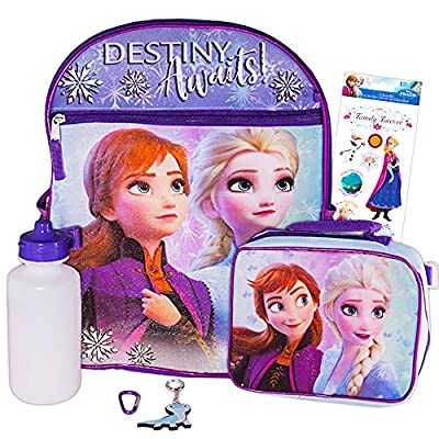 "Disney Frozen Backpack Set for Girls ~ 5 Pc Deluxe 16"" Frozen Backpack with Lunch Bag, Stickers, and More (Frozen School Supplies)"