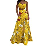 Crop Top Maxi Skirt Set 2 Piece Outfit Dress Women Cami Tank Tops Long Maxi Ruffle Dresses Floral Graphic Beach Sundress (Yellow, XX-Large)