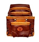 USA Pro Tools Carpenters Leather Tool Pouch Bag | 10 Pockets with Two Hammer Holders | Tool Bag for Framer, Electrician, Handyman and Construction Workers.