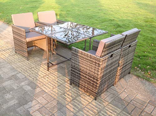 Fimous 4 Seater Rattan Square Dining Table Chair Set Grey Mixed Patio Furniture