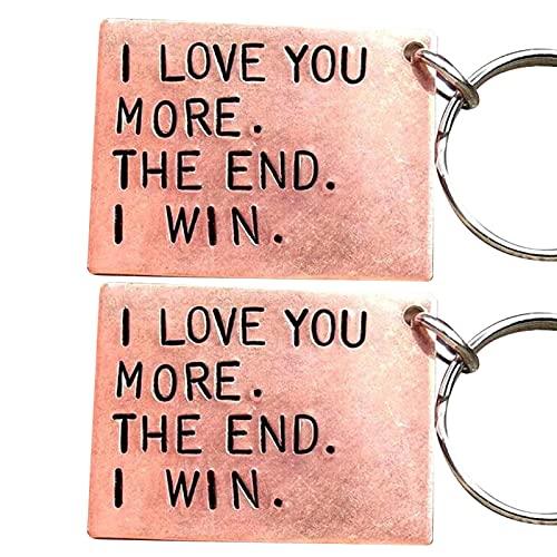 Shubiao Ik hou van je meer het einde ik win grappige verjaardag sleutelhanger een gepersonaliseerd cadeau voor hem/haar…