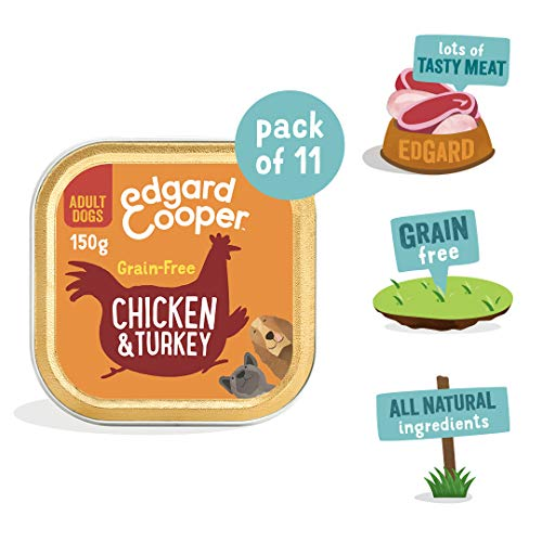 Edgard & Cooper Huhn & Pute mit Apfel und Cranberry- Getreidefreis Nassfutter für Erwachsene Hunde – 11 x 150g Schalen