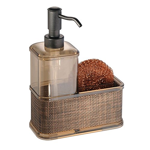mDesign Decorative Plastic Kitchen Sink Countertop Liquid Hand Soap Dispenser Pump Bottle Caddy with Storage Compartment - Holds and Stores Sponges, Scrubbers and Brushes