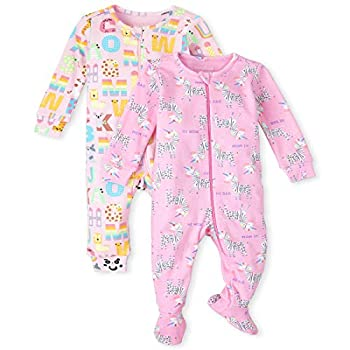 The Children s Place Baby and Toddler Girls ABC Animal Snug Fit Cotton One Piece Pajamas 2-Pack SPARKLPINK 2T