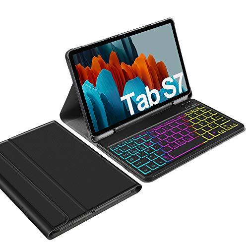 IVSO Backlit Español Ñ Teclado para Samsung Galaxy Tab S7, para Samsung Galaxy Tab S7 11.0 Teclado, 7 Colores Retroiluminado Wireless Teclado con Ñ para Samsung Galaxy Tab S7 T870/875 11 2020, Negro
