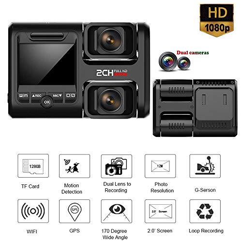 BQT Caméra Tableau de Bord Voiture 2 Pouces écran FHD Full HD 1080p, caméra arrière Avant Grand Angle 170 °, Vision Nocturne enregistreur de caméra Voiture DVR, capteur G et Vision Nocturne