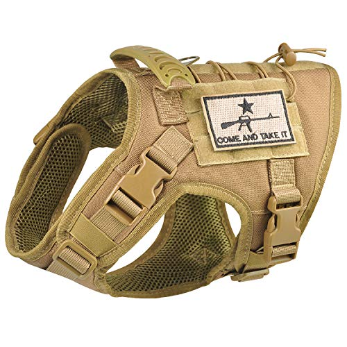 Tactical Dog Vest Harness, Outdoor Training Service Dog Vest Adjustable Military Working Dog Vest with Molle System and Rubber Handle (S=19.7'-22.8' Chest (Adjustable), Khaki)