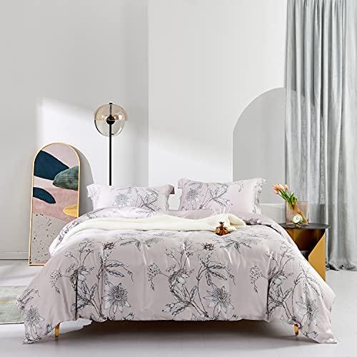 MILDLY Duvet Cover Set 100% Egyptian Cotton, Elegant Floral Comforter Cover 90x90, Breathable & Soft Chic Gorgeous Botanical Bedding Set 3pcs for All Season (No Comforter)