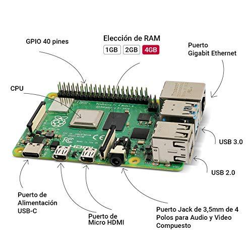 LABISTS Raspberry Pi 4 Model B Kit de 4 GB con SD de 64GB Clase 10 y 5.1V 3A Tipo C con Interruptor, RPi Barebone con 3 Disipadores de Calor, Ventilador, Micro HDMI, Lector de Tarjetas y Caja Negra