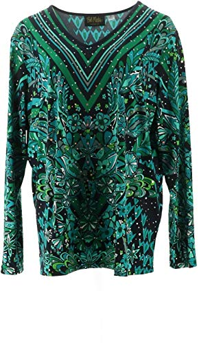 Bob Mackie Floral Print Pullover Knit Top Green Combo L New A345600