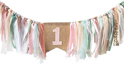 Baby Birthday Decoration - 1st Birthday Baby High Chair Banner Chair Tutu Skirt Decoration for Birthday Party Supplies (Pink&Green)